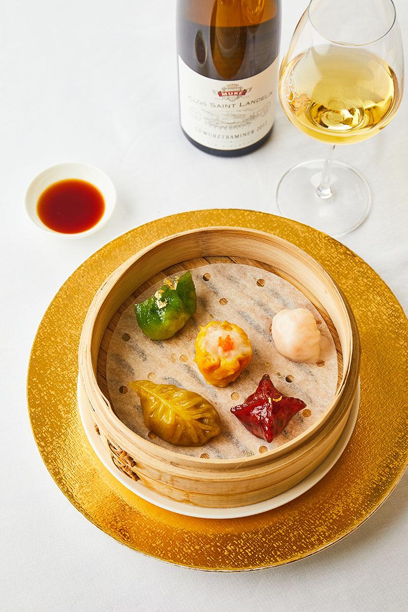 Idée d'accord : Gastronomie cantonaise. En photo ici : Ha Kao, Siu Mai, Rubis, Jade, Citrine.